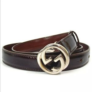 Gucci GG Logo brown patent leather belt